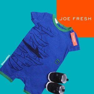 NWT Joe Fresh Blue/Green Shark Graphic Romper
